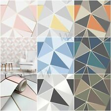 FINE DECOR APEX GEOMETRIC WALLPAPER - METALLIC ROSE GOLD SILVER