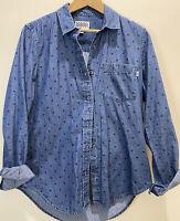 Vans Women's Blue Denim Polka Dot Button Up Shirt Size Medium Skate