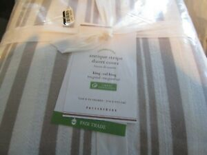 Pottery Barn Antique stripe yarn dye cotton taupe  duvet  King New w tag
