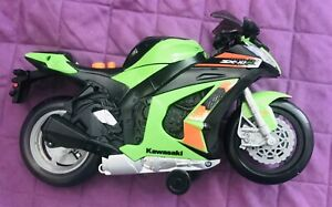 Ninja Wheelie Time! ZX-10R Kawasaki Motorcycle, Green,  Toy State Industries