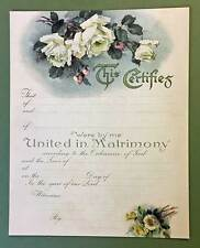 White Roses Wedding Marriage Certificate Old Print Factory
