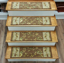 "Rug Depot 13 Country Carpet Stair Treads 30""x9"" Staircase Rugs Brown Wool & Silk"