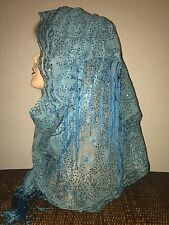 Turquoise Long Scarf Hijab Wrap Sheer pretty and fashionable W/tassels Last1's