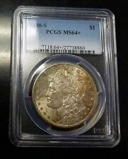 {BJStamps}1880-S Morgan Dollar PCGS MS64+ RICH Orange bronze  toning obv PL Rev