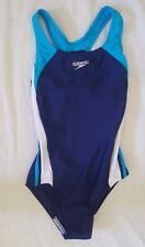 NWT Speedo Blue Teal White One-Piece Competitive Racing Swim/Bathing Suit Sz 10