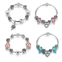 Authentic 925 Sterling Silver Bracelet Love Heart Charm Bead fit European Bangle