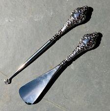More details for antique hm 1914 sterling silver scrolled button hook & shoe horn set - excellent