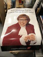 Austin Powers Virgin Atlantic large advertising poster Non smoking flights NM+