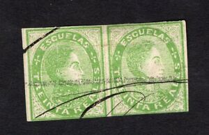 Venezuela 1872 2 stamps Mi#Stamp 14(2)x2 Cancellation by feather used CV=240€