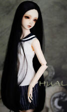 "1/6 6-7"" BJD Doll Pullip Wig Jet Black Straight Buckle Curl Tips Hair Long YL-a2"