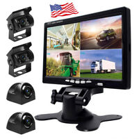 """7"""" HD Quad Split Monitor +4x Front Side Backup Rear View Camera For RV Truck Bus"""
