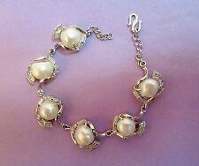 18kt White Gold Plated Baroque Pearl Bracelet Crystals Bride Bridal -Superb!