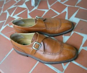 Joseph Abboud Brown Monkstrap Dress Shoes 10 D Made in Italy