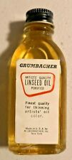 Vintage GRUMBACHER ARTIST LINSEED OIL GLASS BOTTLE METAL CAP  -- 409