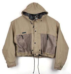 Columbia Mens Tan PFG Fishing Nylon Utility Vented Jacket Performance Gear Large