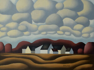 Don Bergland Original Painting Settlement 18x24 Canadian Listed Artist