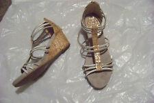 womens dexflex comfort silver & cork wedge heels shoes size 11