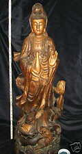 """41"""" (104 cm) Quan Yin of the Southern Sea Carved Statue"""