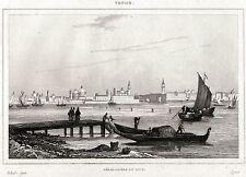 LIDO DI VENEZIA. Laguna Veneta.Regno Lombardo-Veneto. ACCIAIO.Stampa Antica.1838