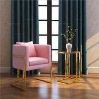 Modern Luxury Golden ArmChair with Grey/Pink/Blue/Black Velvet Seat Single Sofas
