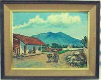 Vintage Mission Trail Oil  Painting by Hawley Vintage ART Decor Southwest