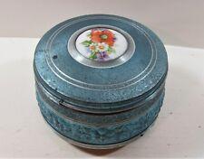 Vintage Metal  Wind-Up Musical Powder Box Blue Embossed Flowers Works Fine