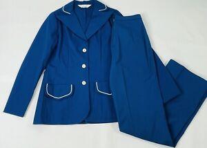 Vintage 60s Mod Womens 6 Navy Blue Wide Leg Nautical Sailor Pant Suit Blazer