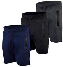 Mens Gym Fleece Jogger Shorts Elasticated waist Running Zip Pockets S-XXL