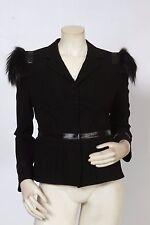 PRADA Black Fox Fur Accented Shoulder Jacket Sz IT 44 US 8 *MINT* $2,750