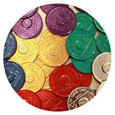 Bulk Lot 30 Aluminum Colored AA Medallions 5 Each Months 1 2 3 6 9 Month & 24 Hr