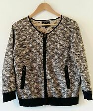 Lucky Brand Zippered Cardigan Size Large L Black and White Tribal Graphic Cotton
