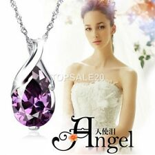 Women Silver Crystal Heal Point Stone Amethyst Pendant Jewelry