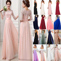 Lady Lace Long Maxi Dress Formal Wedding Bridesmaid Evening Ball Gown Party Prom