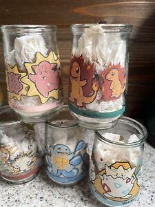 Vintage 8 POKEMON Welch's Jelly Jar Glasses Pikachu Bulbasaur Poliwhirl Togepi