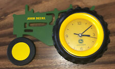 JOHN DEERE WOOD TRACTOR WITH RUBBER TIRE~WALL~DESK~MANTLE CLOCK~WORKS GREAT