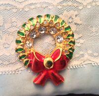 Vintage Large Christmas Wreath Brooch Gold Tone & Rhinestone Red Enamel Pin