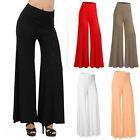 Vogue Women High Waist Plain Palazzo Wide Leg Flared Ladies Trousers Pants S-XXL