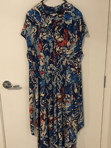 MONSOON Women's Collared Patterned Stretch A-Line Dress Size XL