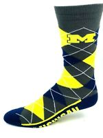 Michigan Wolverines For Bare Feet Charcoal Navy and Yellow Argyle Crew Socks