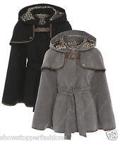 NEW Ladies Women's Celebrity Hooded Cape Poncho Coat Jacket Size 8 - 16 Black