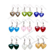 FREE wholesale 6pairs Fashion Heart Lampwork Glass bead Silver Tone earrings