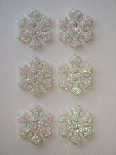 6 Frosted Snowflake Glittery 18mm Buttons