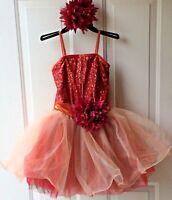 Dance/Ballerina Dress Curtain Call Costumes Orange Size CSM w/Flower Head Piece