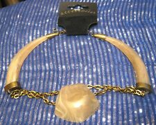 Lovely Bronze tone metal chain necklace faux marble plastic bead Accessories