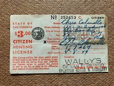 VINTAGE 1950 STATE OF CALIFORNIA CITIZEN PAPER HUNTING LICENSE