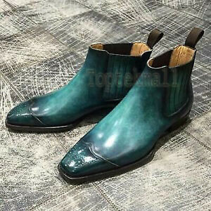 Handmade Men's Leather Patina Chelsea Formal New Style Grade Dress Boots-735