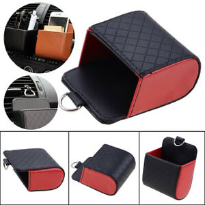 1x Red Car Air Leather Phone Holder Bag Pocket Storage Box Air Vent Pouch USE