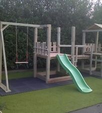 climbing frame, slide, bridge, swing, rock wall