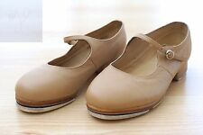 GIRLS LEO'S ULTRATONE LEATHER TAP DANCE BEIGE TAN SHOES SIZE 5 MARY JANE YOUTH
