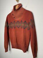 RRL Ralph Lauren X-Small Red Ombré Aztec Shawl Sweater Southwestern Polo RLX XS